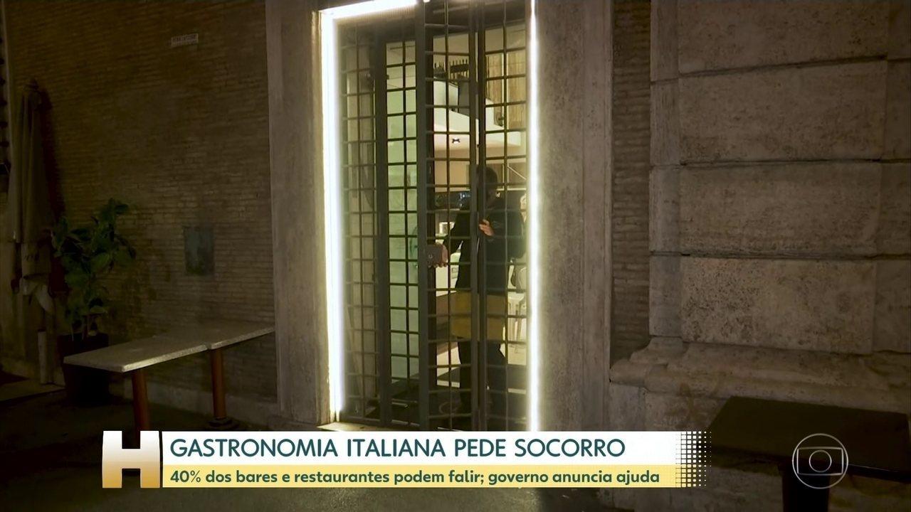 Jornal Hoje | Governo italiano aprova ajuda de 5 bilhões de euros para bares e restaurantes | Globoplay